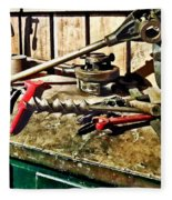 Two Red Wrenches On Plumber's Workbench Fleece Blanket