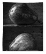 Two Ripe Pears In Black And White Fleece Blanket
