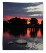Two Rocks Sunset In Prosser Fleece Blanket