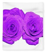 Two Roses Violet Purple And Enameled Effects Fleece Blanket