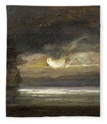 Two Sailing Boats By Moonlight Fleece Blanket