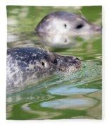 Two Seal Swimming Nature Scene Fleece Blanket