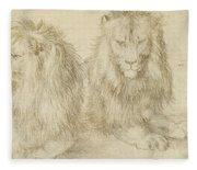 Two Seated Lions Fleece Blanket