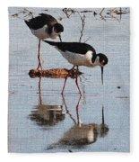 Two Stilts Walk The Pond Fleece Blanket