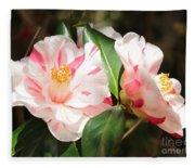 Two Striped Camellias Fleece Blanket