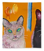 Two Superior Cats With Wild Wallpaper Fleece Blanket