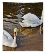 Two Swans On Spring Water Fleece Blanket