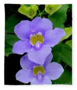 Two Thunbergia With Dew Drops Fleece Blanket