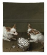 Two Toy Spaniels At A Sugar Bowl Fleece Blanket