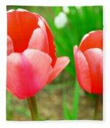 Two Tulips In Bloom  Fleece Blanket