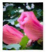 Two Unopen Pink Hibiscus Flowers Fleece Blanket