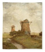Two Windmills Between Abcoude And Ouderkerk On The Amstel Fleece Blanket