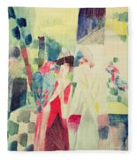 Two Women And A Man With Parrots Fleece Blanket