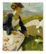 Two Women On The Hillside 1906 Fleece Blanket