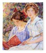 Two Women Reading Fleece Blanket