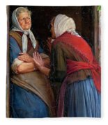 Two Women Talking Fleece Blanket