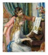 Two Young Girls At The Piano, 1892  Fleece Blanket