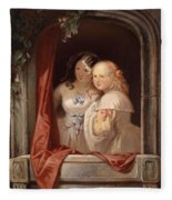 Two Young Ladies At The Window Fleece Blanket