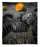 Two Zebras And Macaw Fleece Blanket