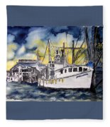 Tybee Island Georgia Boat Fleece Blanket