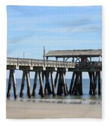 Tybee Island Pier Closeup Fleece Blanket