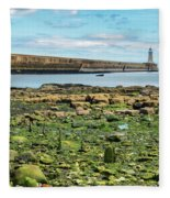 Tynemouth Pier Landscape In Color 2 Fleece Blanket