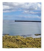 Tynemouth Piers And Lighthouses Panorama Fleece Blanket