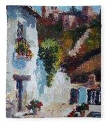 Typical Street Of Granada. Original Acrylic On Paper Fleece Blanket