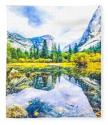 Typical View Of The Yosemite National Park Fleece Blanket