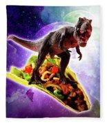 Tyrannosaurus Rex Dinosaur Riding Taco In Space Fleece Blanket