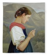 Tyrolean Girl Contemplating A Crucifix Fleece Blanket