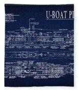 U-boat Submarine Plan Fleece Blanket