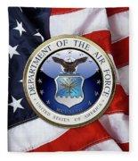U. S.  Air Force  -  U S A F Emblem Over American Flag Fleece Blanket