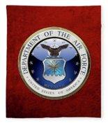 U. S.  Air Force  -  U S A F Emblem Over Red Velvet Fleece Blanket