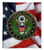 U. S. Army Emblem Over American Flag. Fleece Blanket