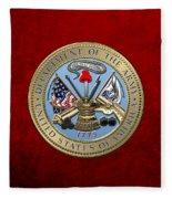 U. S. Army Seal Over Red Velvet Fleece Blanket