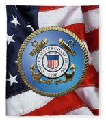 U. S. Coast Guard - U S C G Emblem Over American Flag Fleece Blanket