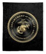 U S M C Emblem Black Edition Over Black Velvet Fleece Blanket