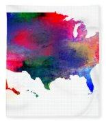 U S Map Color  Fleece Blanket