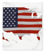 U S Map Stars N Stripes  Fleece Blanket