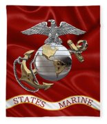 U. S.  Marine Corps - C O And Warrant Officer Eagle Globe And Anchor Over Corps Flag Fleece Blanket