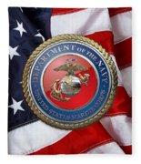 U. S. Marine Corps - U S M C Seal Over American Flag. Fleece Blanket