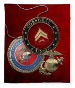 U. S.  Marines Corporal Rank Insignia Over Red Velvet Fleece Blanket