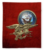 U. S. Navy S E A Ls Trident Over Red Velvet Fleece Blanket
