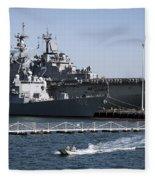 U S S Sampson And U S S Essex In San Diego Fleece Blanket