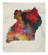 Uganda Watercolor Map Fleece Blanket