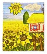 Ukrainian House With Sunflowers Fleece Blanket
