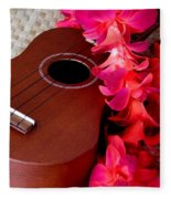 Ukulele And Red Flower Lei Fleece Blanket