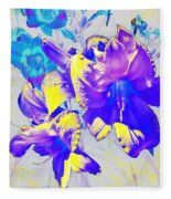 Ultraviolet Daylilies Fleece Blanket