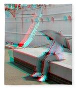 Umbrella Man - Use Red-cyan 3d Glasses Fleece Blanket